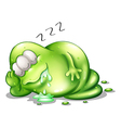 A greenslime monster sleeping vector image vector image