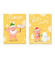 be merry happy new year and hello winter vector image vector image