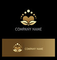 beauty love heart organic gold logo vector image vector image