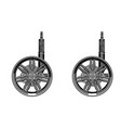 black wheel on white background vector image vector image