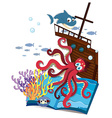 Book of underwater and shipwrecked vector image vector image