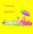 bright summer holidays poster with orange deck cha vector image