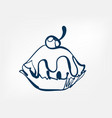cake one line design element isolated vector image
