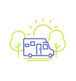 camper line icon travel in camping van vector image