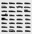 cars silhouette set icons on background vector image vector image