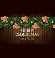 christmas greeting card with christmas tree vector image vector image