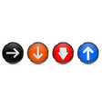 colored 3d buttons with arrows round glass shiny vector image vector image