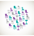 Colorful furniture icons - chairs vector image vector image