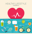 concept healthy lifestyle infographics icons vector image vector image