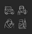 covid19 spread prevention chalk white icons set vector image vector image