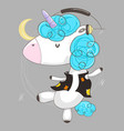 cute cartoon unicorn wearing headphones and vector image vector image