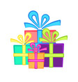 cute present symbol with bright flat gift boxes vector image