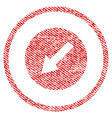 down-left rounded arrow fabric textured icon vector image vector image