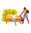 family weekends dad with mom and kid in park vector image vector image