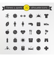 Fitness silhouette icons set vector image vector image