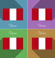 Flags Peru Set of colors flat design and long vector image vector image