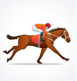 galloping race horse with jockey vector image vector image