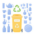 glass waste sorting flat icon set vector image vector image