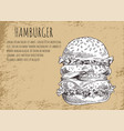 hamburger poster and sketch vector image vector image