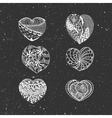 Hand Drawn chalk Valentines Day Hearts Set vector image vector image
