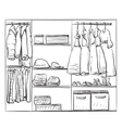 Hand drawn wardrobe sketch Clothes for baby girl vector image vector image