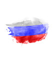 hand drawn watercolor brush paint russian flag vector image