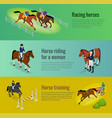 isometric web equestrian horizontal banners with vector image vector image