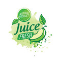 logo splashes green apple juice on white vector image vector image