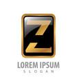 luxury button square letter z concept design vector image