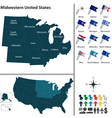 Map of Midwestern United States vector image vector image