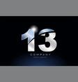 metal blue number 13 logo company icon design vector image vector image