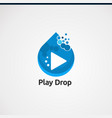 play drop logo concepticon element and template vector image
