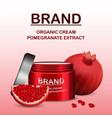 pomegranate cream concept background realistic vector image