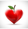 red human heart with a leaf in form a berry vector image