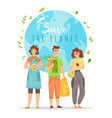 save planet young men and women vector image