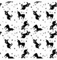 seamless pattern with unicorns and stars design vector image vector image