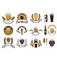 set craft beer emblems and logo templates vector image