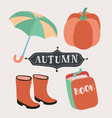 set of cartoon autumn elements vector image