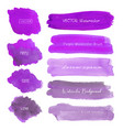 set of purple watercolor on white background vector image vector image