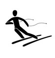 silhouette alpine downhill skier giant slalom vector image vector image