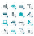 stylized industry and business icons vector image
