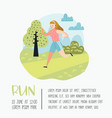 summer outdoor sport activities woman running vector image vector image