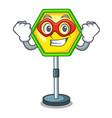 super hero cartoon traffic sign on traffic road vector image