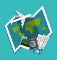 traveling around world icon vector image