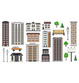 various city elements of multistorey buildings and vector image