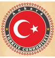Vintage label cards of Turkey flag vector image vector image