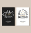 wedding invitation card template thin vector image vector image