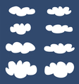 White clouds on dark blue sky background set vector image vector image