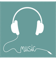 White headphones with cord in shape of word Music vector image vector image