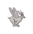 Wolpertinger running side drawing vector image